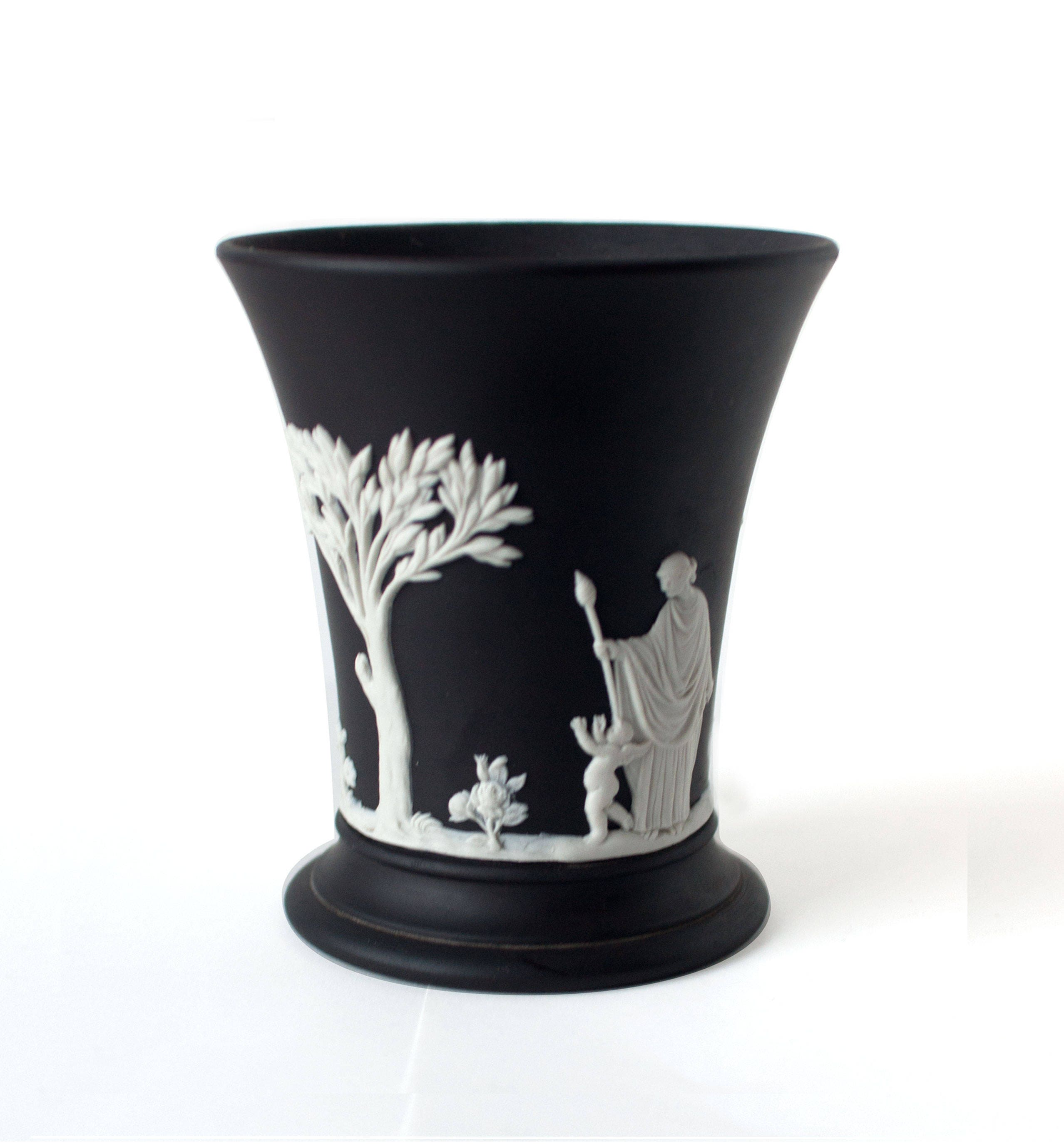 Wedgwood black jasperware vase 1960s white relief zoom reviewsmspy
