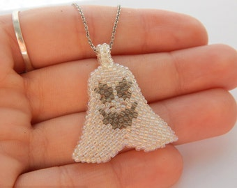 Little Ghost pendant - beaded Halloween jewelry - spooky seed bead necklace - handmade beadwork - funny ghost - white    black leather cord