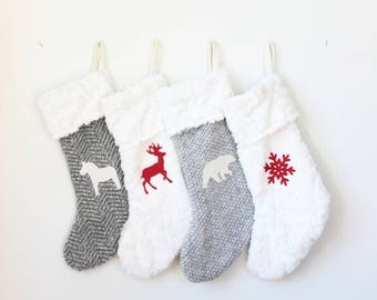 Christmas Stocking | Faux Fur Stockings | Personalized Xmas Stocking | Monogram Initial Stocking {Christmas Stocking: Choose Your Fabric}