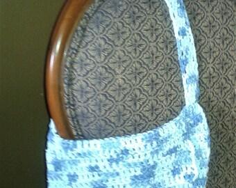 Crochet cotton shoulder bag purse with flap