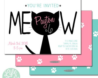 Kitty Cat Birthday Invitation | Cat Invitation | Kitty Cat Invitation | Meow Invitation- 5x7 with reverse side