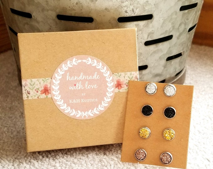 Druzy Earring Set - Four Pairs Of Druzy Stud Earrings Light Silver, Black, Gold, and Rose Gold Druzy Gift Set