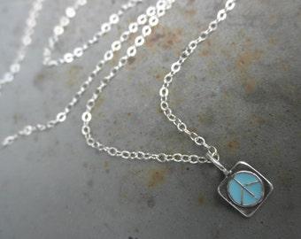Enamel peace sign charm chain necklace