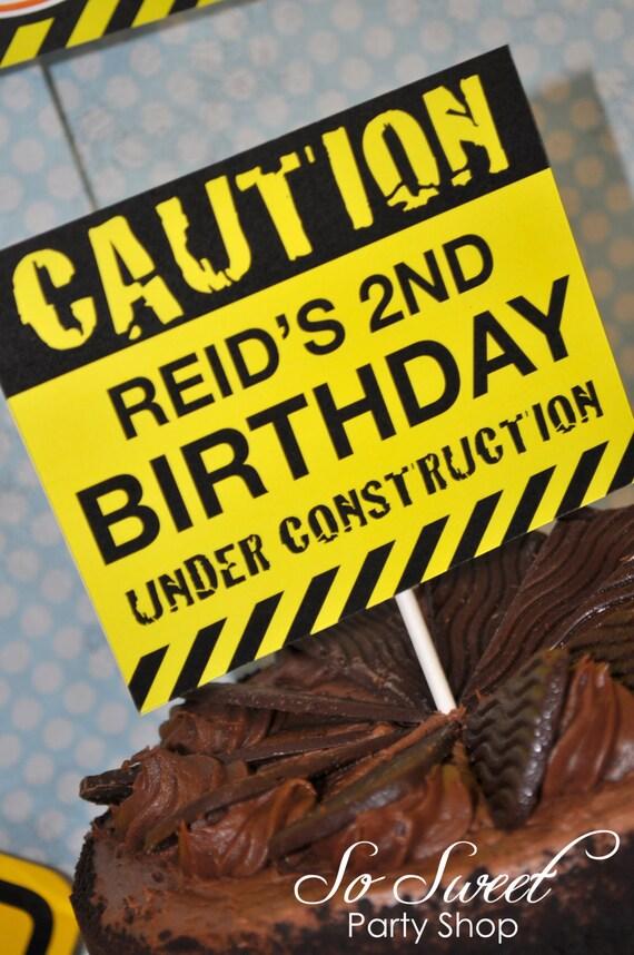 Construction Birthday Cake Topper Boys 1st Birthday Party
