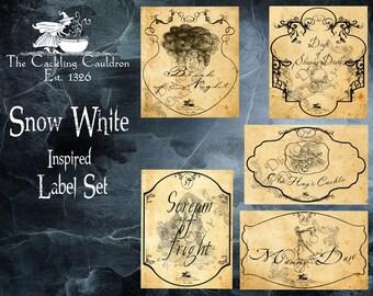 The Cackling Cauldron ~ Snow White label set