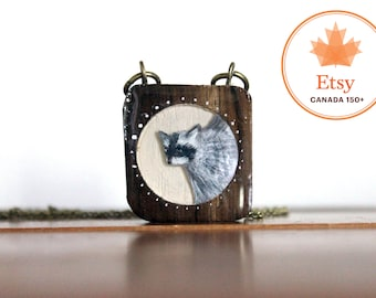 Raccoon Necklace- Canada150 wooden necklace