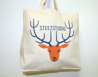 Cabas unbleached natural cotton, with rubber 15 cm - digital printing Moose