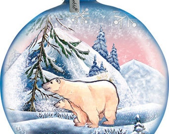 Polar Bear Family Ornament; Handcrafted Old World Christmas Gallery Collection for the Tree.(73411)