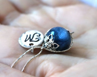 Blue Kyanite Necklace, hand stamped custom initial necklace, gemstone jewelry, globe / orb infinity necklace, best friend gift, for her