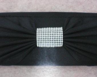 Black Satin Rhinestone Studded Evening Clutch Purse Bag - 5374