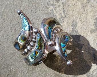 SAVE 150 DOLLARS:Taxco Sterling Clamper,Vintage Taxco Cuff,Taxco Abalone Cuff,Abalone Jewelry,Taxco Bracelet,Vintage Bracelet