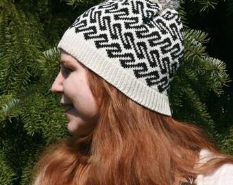 Spring Fall Autumn Hat, Traditional Ancient Viking Age Fair Isle Beanie, Customized Beanie, Gift for Her, Unique Gift, Card Weaving, EWB