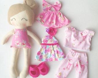 Dress up doll - fabric doll  - handmade doll - rag doll - girls room decor - girls toy - cloth doll - baby gift - heirloom doll