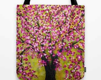 Floral Tote Bag, Cherry Blossom, Tree Tote Bag, Pink Tote, Art Tote Girls Tote Gifts Womens Totes Canvas Tote Shopping Tote Bag, Pink Gifts