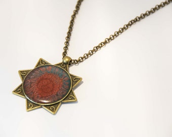 Vintage necklace with painted fantasy resin pendant