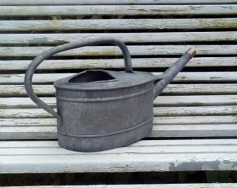 antique zinc watering can with pommel brass vintage garden decor