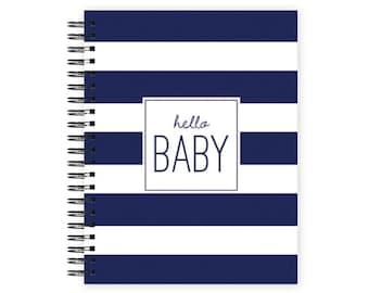 Hello Baby™ Baby Book, Baby Memory  Book, NAVY STRIPE Personalized Baby Book,  Baby Books, The Sweet Rhino