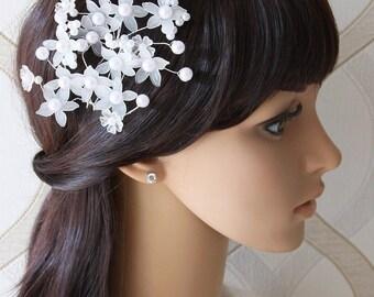 Set Of 2 Bridal Hair Pins, Pearl Flower Hair Pins, Wedding Headpiece, Bridal Hair Accessory, Hair Comb, Wedding Accessory, Hair Fascinator