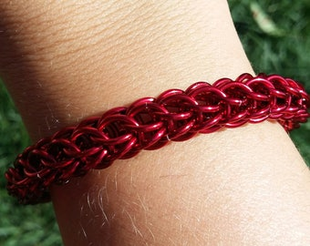 Chunky Red Chainmaille Bracelet