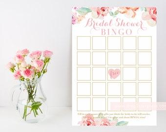 Bridal Shower Bingo Printable, Floral watercolor shower game downloadable, Blush pastel floral, DIY, INSTANT DOWNLOAD, 003