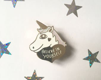 Unicorn enamel pin, unicorn valentines gift, unicorn gift, positive enamel pin, Unicorn pin, Unicorn lapel pin, flair, Inspirational quote
