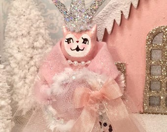 Christmas ornament pink cat pastel holiday vintage retro kitty doll ornament