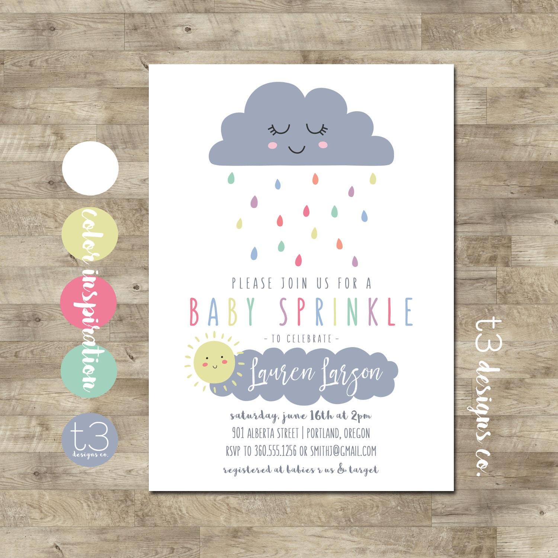 Baby Sprinkle Invitation Cloud Baby Shower Invitation gender