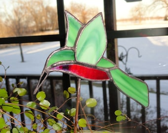 Stained Glass Hummingbird Plant Stake