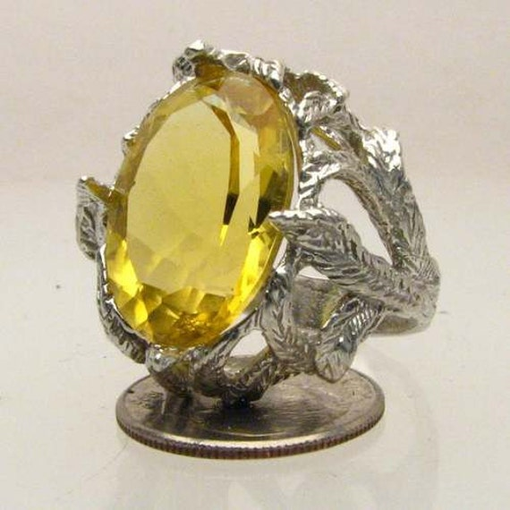Handmade Solid Sterling Silver Yellow Citrine Faceted Stone Ring
