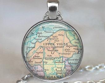 Burkina Faso necklace, Upper Volta necklace, Burkina Faso pendant, Upper Volta pendant, map jewelry key ring key chain key fob