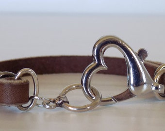 Heart and Leather Bracelet