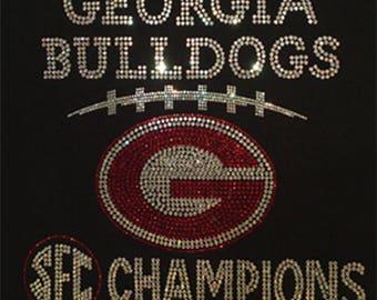 Georgia Bulldogs SEC Champions Bling Custom Design on Black T-Shirts and Sweat Shirts by Blingcons, Sizes Small - 5XL