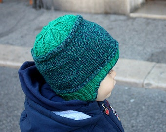 Knitting Pattern (PDF file9 Two Colors Toddler Hat (12-24 /24-36 months)