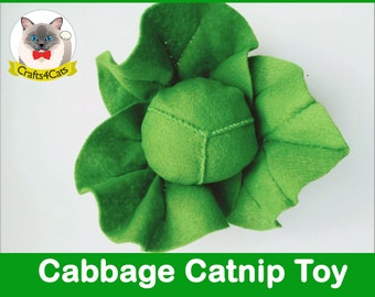 Felt catnip cat toy // Green Cabbage // Unique catnip cat toy,cute cat toys,vegetable catnip toy,felt catnip toy,Crafts4cats