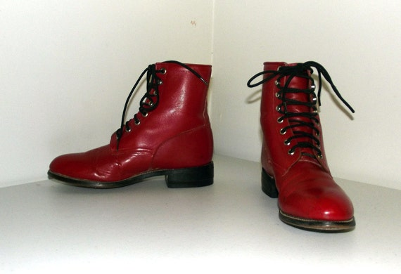 4 Leather size size 5 Up cowgirl boots Red Lace D Justin or brand 5 Rockin' w0t84qn