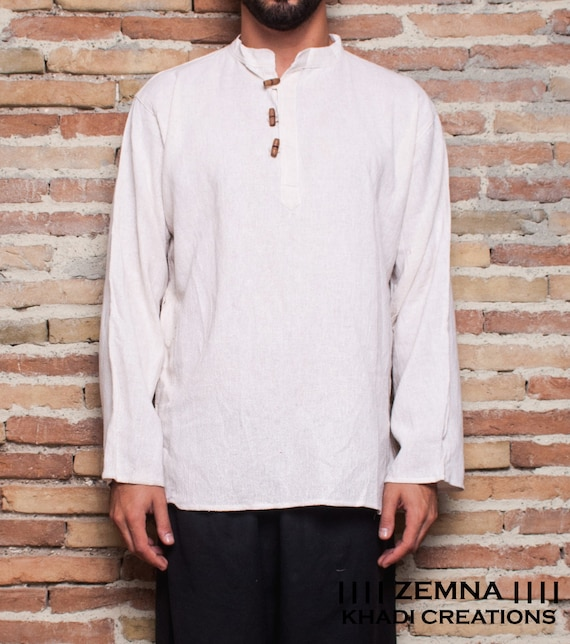 Men Khadi Jacket with side buttons &lt; <beyond>                  &gt;, Men Khadi Shirt,Men long sleeve shirt,men cotton shirt, primitive shirt, light cotton jacket              </beyond>