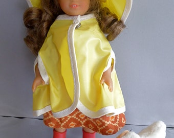 """Yellow Plastic RAINCOAT CAPE and HAT for Mini American Girl, Lottie and other 7""""-8"""" dolls"""