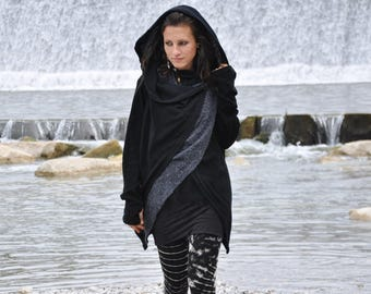 Cardigan, Wrap Jacket (two-ply) with Large Hood and Thumbholes ~ black - gray