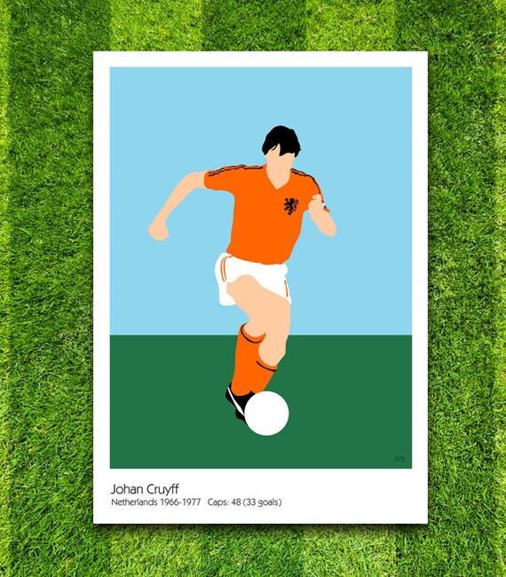 Johan Cruyff // Netherlands // Football // Soccer // Minimalist Poster // Unique Art Print
