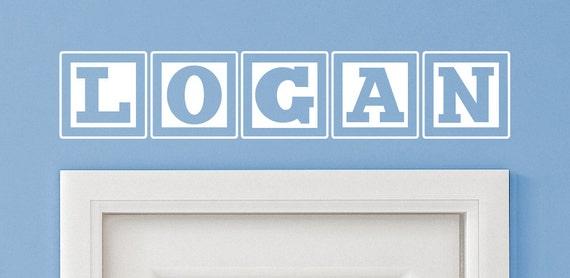 Logan Baby Block Name Bedroom Closet Door   30 Inch Wide Wall Vinyl Decal  Decorative Art