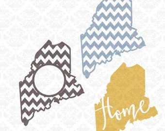 Maine Chevron Monogram Outline Home Love SVG STUDIO Ai EPS Scalable Vector Instant Download Commercial Use Cutting File Cricut Silhouette