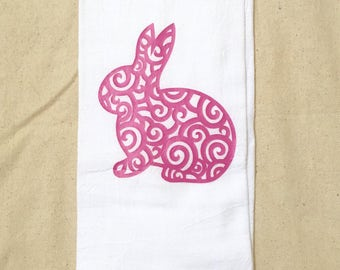 Bunny Flour Sack Dish Towel, Flour Sack Towel, Kitchen Towel