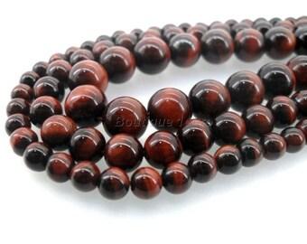 (8) 4mm, 6mm (6), 8mm (3), 10mm (2)-Red Tiger eye beads