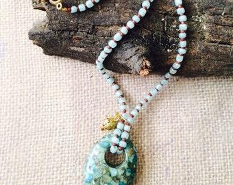 Agogo Mosaic Turquoise Necklace.