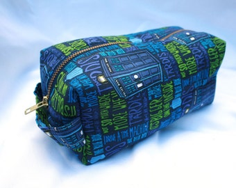 Toiletry Bag - Doctor Who TARDIS- School Supplies - Pencil and Electronics case- Dopp Kit - Graduation Gift