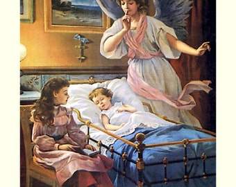 Angel watches over ill child in crib. Religious. Angel Guardian at Bedside 11x14 canvas print