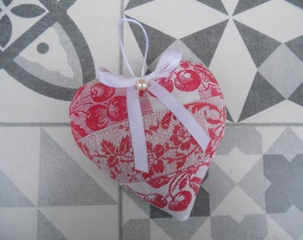 heart door pillow only old linen damask napkins NAPOLEON III