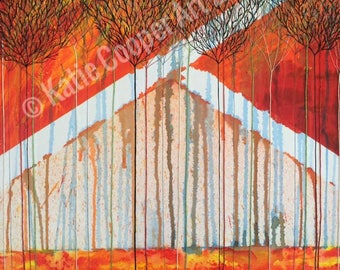 Wildfires and Glaciers,  mixed media original painting