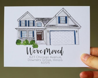 Custom Home Portrait Address Postcards/ Change of Address / We've Moved Cards/ New Home Announcement / Realtor Gift / Custom new address