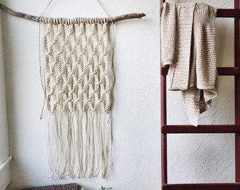 Large White Macrame Wall Weaving on Driftwood | Large White Wall Weaving Woven Wall Hanging | Neutral Wall Decor | Jungalow Style
